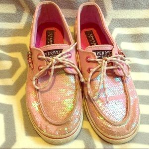 Pink sparkly Sperrys